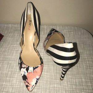 JustFab Floral Striped Heels